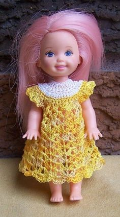 "Kelly 4 1/2"" Doll White & Honey Drizzle Yellow Dress Crocheted New"