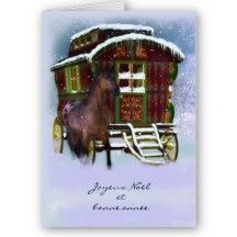 French Christmas Card - Horse And Old Caravan - Jo vintage airstream trailer