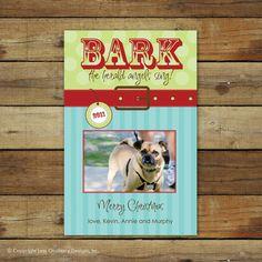 Dog Christmas card, Bark the Herald Angels Sing