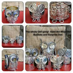 Tin Can Alley -- Repurposed and Reloved by Janet Buhl Moody Avery at  tincanalleyreloved@gmail.com  The whole owl crew!