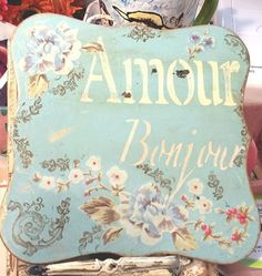 Shabby chic wall plaque 6 1/2 by 6 1/2 with cream colored ribbon for hanging by SofisLittleRoom on Etsy