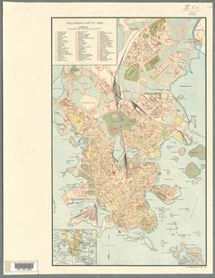 Map of Helsinki, 1932 Helsinki, Good Old, Finland, Vintage World Maps, Villa, Architecture, Historia, Arquitetura, Architecture Design