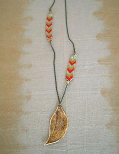 Ochre Porcelain Leaf Pendant Necklace by FieldAndFeather on Etsy