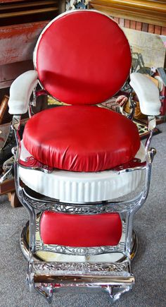 1920s Fluted Double Round Koken Antique Barber Chair by RustyNook, $2400.00