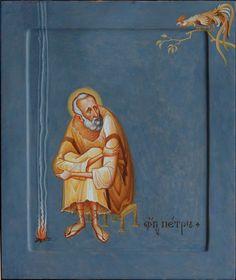 Unique icon of Saint Peter Byzantine Icons, Byzantine Art, Religious Icons, Religious Art, Christian Artwork, Religion Catolica, Spiritus, Catholic Art, Art Icon