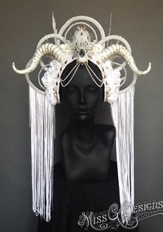MADE TO ORDER Ice Queen Faux Feather Headdress by MissGDesignsShop, $565.00