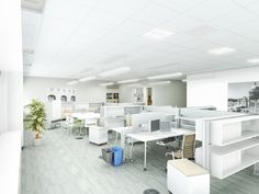 Utilize occupancy sensors and zones for maximum efficiency of HVAC and lighting systems within open office areas.