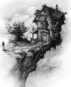 "This is one of five black and White Illustrations for Nada Mihaljevic's book ""Dragon's Embrace"", children fantasy book. Our hero approaches ""The falling"" House, mysterious house build on the edge of a very unstable cliff. Children's Fantasy Books, Fantasy World, Cg Artwork, Fantasy Artwork, Middle School Art, Effigy, Black And White Illustration, Game Art, Mystic"