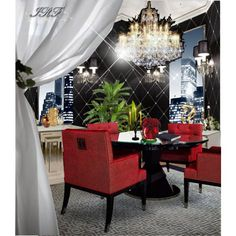 """So beautiful this dining room. Love the red fabric chairs, combined with with black furniture and a grey/white pattern rug. Don't forget to protect your fabric furniture with a suede and fabric protector. We are going to launch that product in the next 2 weeks,  """"dining #76"""" by irafra on Polyvore"""
