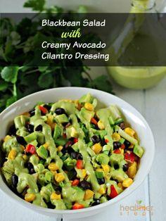 Black Bean Salad with Creamy Avocado Cilantro Dressing | Gluten Free and Vegan Recipes by Michelle Blackwood