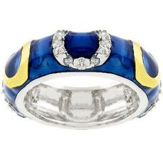 #blackdiamondgem  Dark Blue Sapphire September Birth Stone Colored Enamel Horse Shoe Ring White Gold Rhodium Plated 14k Yellow Gold Plated Horseshoes and Shiny Dark Blue Enamel Overlay with Handset Clear Crystal Colored April Birth Stone Faux Diamond CZ Cubic Zirconia Stones Eternity Ring 7 mm x 24 mm x 3 mm SIZE 10 Womens http://blackdiamondgemstone.com/colored-diamonds/jewelry/dark-blue-sapphire-september-birth-stone-colored-enamel-horse-shoe-ring-white-gold-rhodium-plated-