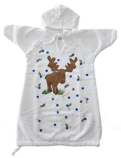 Gambies Unisex-Baby Blueberry Moose Hooded Gown Grows with Baby White One Size USA Grown & Sewn. Pre-washed & Pre-shrunk. Hand-silkscreened. Convenient Hood. Swaddle to Toddle Growth Feature.  #Gambies #Apparel