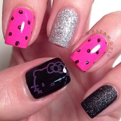 Hot Pink Silver And Black Hello Kitty Nails