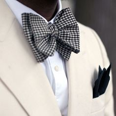 Black And White Checked Bow Tie