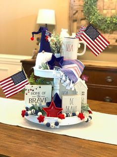 Excited to share this item from my shop Home of the brave sign Patriotic tiered tray sign of July sign Memorial Day decor Labor Day sign tray sign Memorial Day Decorations, 4th Of July Decorations, Easy Decorations, Fourth Of July Decor, July 4th, Mason Jars, Home Of The Brave, July Crafts, Patriotic Crafts