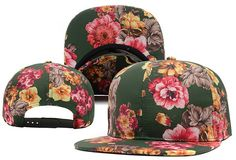 Flower Blank Snapback Hats Green 7817! Only $8.90USD