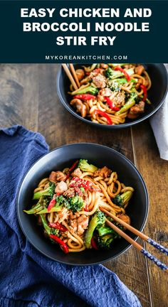 Easy Chicken and Broccoli Noodle Stir Fry Recipe | MyKoreanKitchen.com