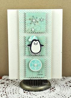 """Paper: rustic cream, Crate Paper: Emma's Shoppe patterned paper; Stamps: Winter Penguin, Polka Dot Basics II; Ink: hawaiian shores, smokey shadow; Other: Winter Penguin dies, button card die, 1"""" circle punch, mister huey's calico shine spray, Hero Arts adhesive pearls"""