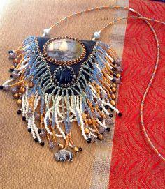 Buffalo Medicine bag leather and beaded fringe by IndigoDeer, $269.00