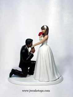 Excellent interracial bride and groom wedding cake topper pity, that
