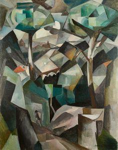 Albert Gleizes, (8 December 1881 – 23 June 1953), France Le Chemin, Paysage à Meudon, Paysage avec personnage, 1911 oil on canvas