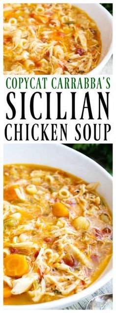 Carrabba's copycat recipe for SICILIAN CHICKEN SOUP is simple & gorgeous. Full of flavor, this will become a family favorite. Carrabba's copycat recipe for Sicilian Chicken Soup is simple & gorgeous. Full of flavor, this will become a family favorite. Crock Pot Recipes, Chili Recipes, Cooker Recipes, Healthy Recipes, Chicken Recipes, Carrabbas Chicken Soup Recipe, Chicken Soups, Shrimp Recipes, Fondue Recipes