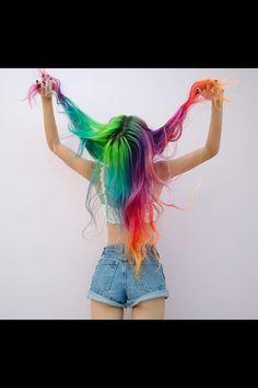 Rainbow hair | long hair | multi colored hair