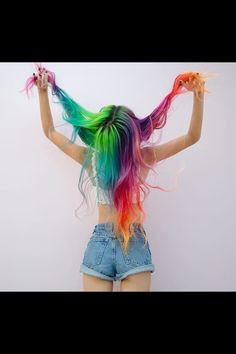 Rainbow hair | long hair | multi colored hair