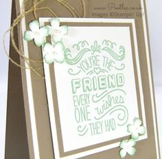 Stampin' Up! Pootles - Friendly Wishes with Tip Top Taupe and Mint Macaron Sentiment