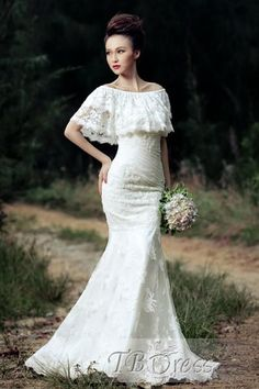 Amazing Sheath Off Shoulder Sweep Train Lace Beach Wedding Dress