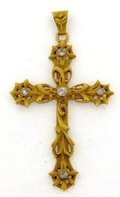 Antique Art Nouveau French 18k Yellow Gold Diamonds Cross Pendant