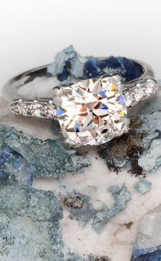 Classic vintage engagement ring featuring an old european cut diamond
