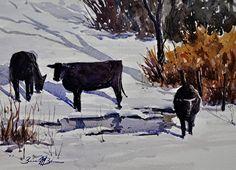 Winter Trio by Brienne Brown Watercolor ~ 10 x 14