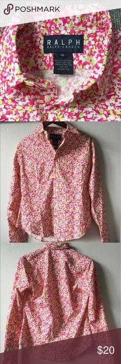 Ralph Ralph Lauren Floral print shirt blouse Sz 10 Button down shirt. size 10. great condition. Ralph Lauren Tops Button Down Shirts