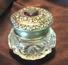 Sterling silver topped Dresser Jar or Rouge Pot with Amethyst by HillCountrySilverGal on Etsy