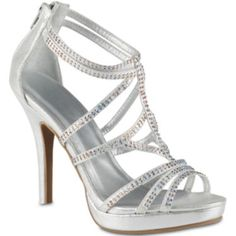 Bring on the bling! This strappy high-heel sandal features sparkling rhinestone detail and back zipper closure for easy on/off.