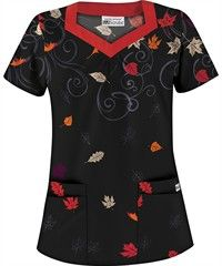 UA Wonderfall Black Print Scrub Top