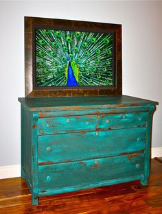 Antique Empire Dresser w/peacock/turquoise milk paint, and tung-oil