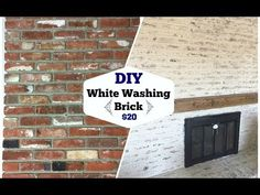 DIY German smear or schmear brick wall tutorial. See how to make a german smear brick plastered wall on faux brick or real brick. Distressed Fireplace, White Wash Brick Fireplace, Brick Fireplace Makeover, Brick Walls, Fireplace Remodel, Fireplace Ideas, Brick Pavers, Brick And Mortar, Faux Brick