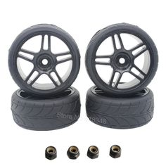 RC 1/10 On Road Tires & Wheels 26mm With Foam Inserted Fit HSP HPI Model Car