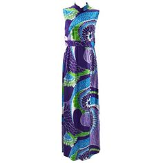 1970s Tori Richard Hawaiian Print Sleeveless Maxi Dress