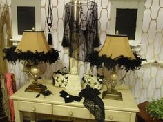 Black Feather Boa | Lamps - **TWO ORNATE LAMPS WITH SHADES IN BLACK FEATHER BOA** was ...