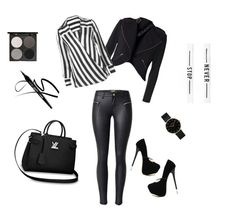 """blackandwhite"" by lillus-lako-ll on Polyvore featuring WithChic, Gorgeous Cosmetics and CLUSE"