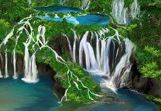 プリトヴィツェ湖群国立公園(クロアチア)。湖同士が滝でつながっている。16の湖と92の滝がエメラルドグリーンの景観を作ります。