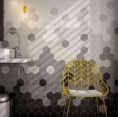 carreaux gris et noir pour mur de salle de bain de design contemporain