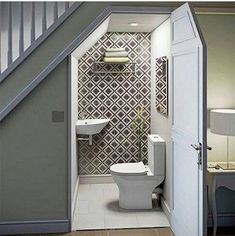 decoration: Bathroom Under Stairs Idea More Sink Over. Bathroom Under Stairs Bathroom Under Stairs, Toilet Under Stairs, Down Stairs Toilet Ideas, Downstairs Toilet, Small Basements, Stair Storage, Staircase Storage, Wall Storage, Hallway Storage