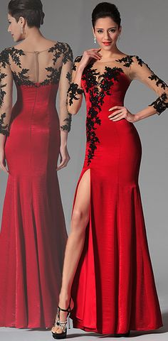 eDressit Red Lace Long Sleeves Evening Prom Gown