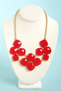 Jewel-cy Fruit Red Statement Necklace at LuLus.com! #lulus #holidaywear
