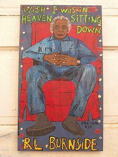 RL Burnside-Dan Dalton Art, Delta Blues, blues music art, blues folk art, outsider art, raw art, mississippi art , mississippi blues