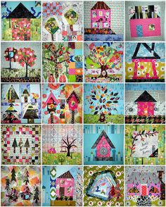 Home Sweet Home Quilt Along - 16 blocks PLUS 4 Bonus Blocks - I'm in LOVE! by KimsCraftyApple, via Flickr